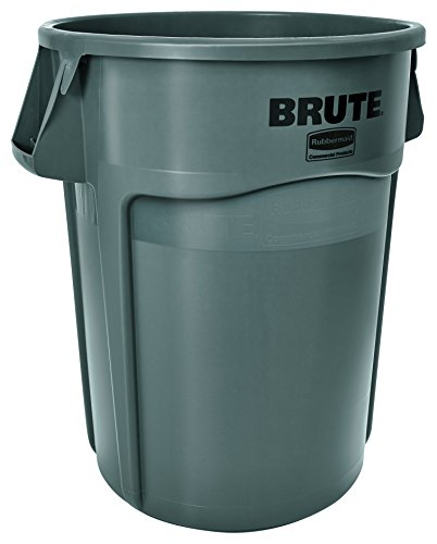 44 Gallon Trash Container - Rubbermaid Commercial FG264360GRAY BRUTE Heavy-Duty Round Waste/Utility Container, 44-gallon, Gray