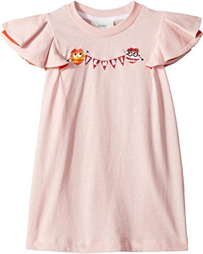 Fendi Kids Baby Girl's Ruffle Sleeve Logo Pom Pom Graphic T-Shirt (Toddler) Pink 3 Years by Fendi Kids