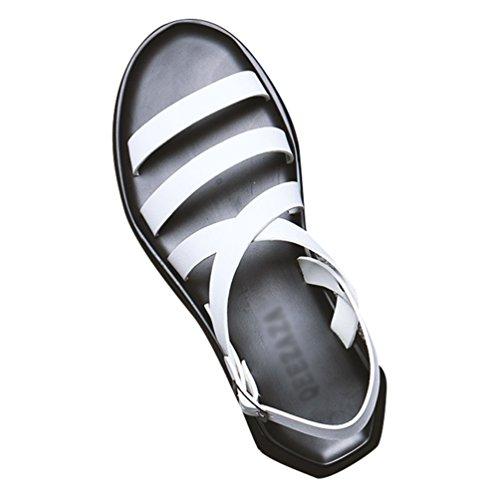 da Spiaggia Leggero Bianca Open Sandali Vacanza Piatto Comfort Scarpe Yujeet in Scivolare Toe Uomo Moda Pelle su Estate Leisure Scarpe 7nzqv5
