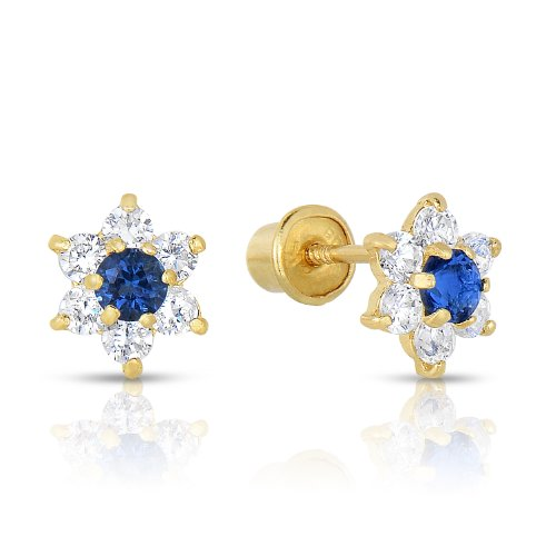 Gold Baby Earrings (Girls 14k Gold Small Flower Stud Earrings with Cubic Zirconia and Screw Backings (September))