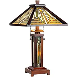 "Chloe Lighting CH33359WM15-DT3 15"" Shade Tiffany-Style 3 Mission Double Lit Wooden Table Lamp"