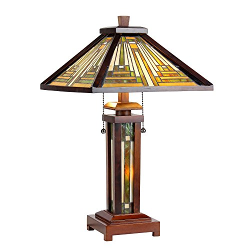 Chloe Lighting CH33359WM15-DT3 15″ Shade Tiffany-Style 3 Mission Double Lit Wooden Table Lamp