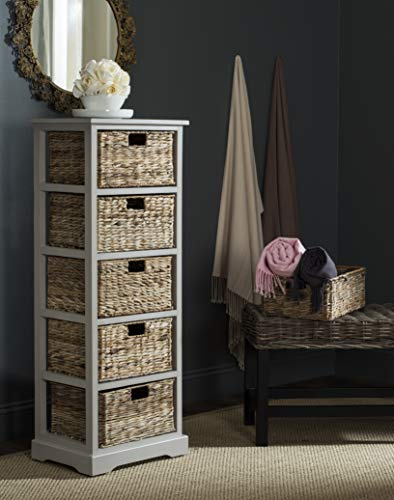 Safavieh American Homes Collection Vedette Vintage Grey 5 Wicker Basket Storage Tower (Wicker With Drawers Chest)