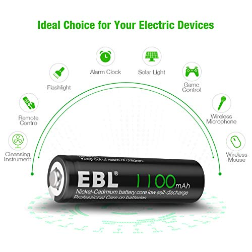 EBL 20 Counts Rechargeable AA Battery High Performance at Low or High Temperature 1100mAh NICD Battery