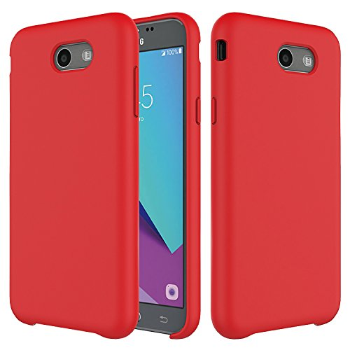 (Samsung Galaxy J7 Case,Setber Liquid Silicone Gel Rubber Shockproof Case with Soft Microfiber Cloth Lining Cushion for Galaxy J7 2017/J7 V/J7 Sky Pro/J7 Perx/J7V 2017/J7 Prime(2017 Release)-Red)