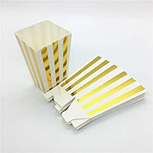 Amazon.com: ASMGroup Popcorn Boxes 12pcs Gold/Silver Stiff Paper Mini Party Popcorn Boxes Pop ...