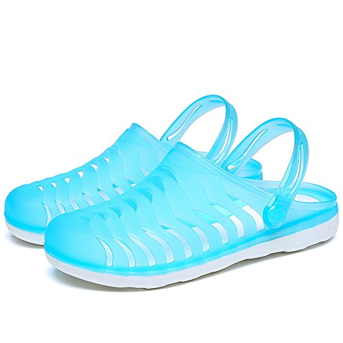 Enllerviid Mujer Closed Toe Summer Flat Jelly Sandals Cut-out Rain Garden Tobogán Beach Zapatos 888 Sky Blue