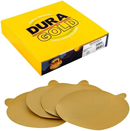 220 Grit 100 Pack 6 Inch Gold Peel and Stick Adhesive Backed PSA Sanding Discs with Tabs