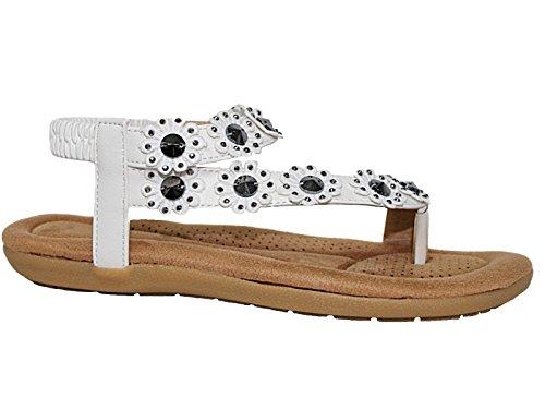 Blanc fille Foster Footwear Sandales 2 femme xq1U7a