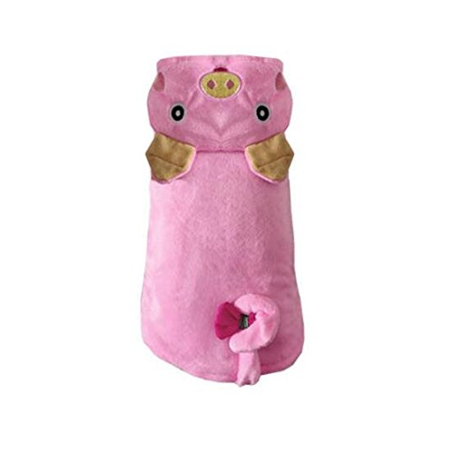 Dog Sled Costume (CLOVER Autumn Winter Warmth Pink Polar Fleece Pig Piggy Role Play Suit Fancy Dog Cat Puppy Costume With Hat -)