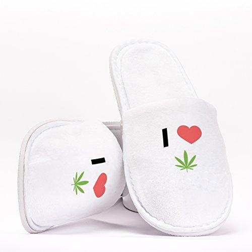I Love Weed Emoji Marijuana Joint Splif Heart Pantuflas como Regalo Original para Despedidas de Soltera Bodas Cumpleaños o Viajar de Talla Única
