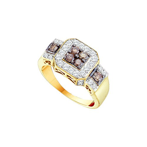 14kt Yellow Gold Womens Round Cognac-brown Colored Diamond Square Cluster Ring 1.00 Cttw by JawaFashion