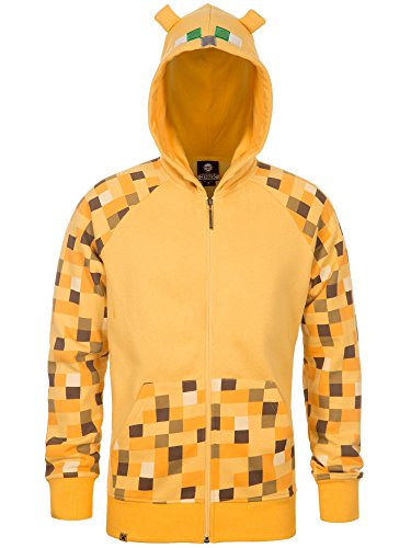 JINX Minecraft Big Boys' Ocelot Premium Zip-Up Hoodie (Yellow, Small)]()