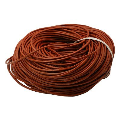 Angel Malone 2 Meters Burnt Orange Round Genuine Leather 3mm Cord Thong for Knotting, Jewellery Making, Multi Purpose AngelMalone_0624