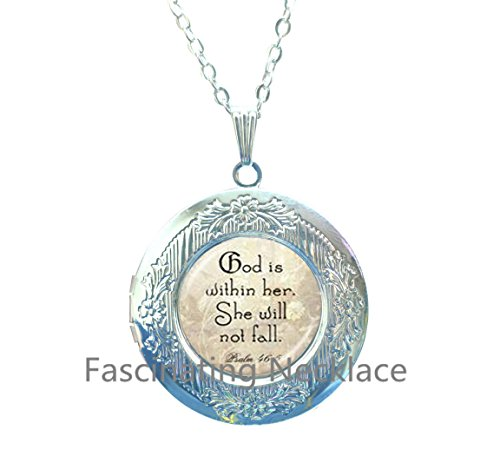 Bible Locket Pendant - New Locket Necklace,God is Within Her She Will Not Fall Psalm 46 5 Scripture Locket Pendant Bible Verse Locket Necklace for Strong Woman or Mother Daughter Locket Necklace,AE0025