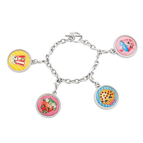 Free Cap Download (Shopkins Bracelet with 4 Bottle Cap Printed Character Charms + Free Bonus SPK Mystery Jewelry Pc. (Kooky Cookie, Poppy Corn, Strawberry Kiss, and Cupcake Chic))