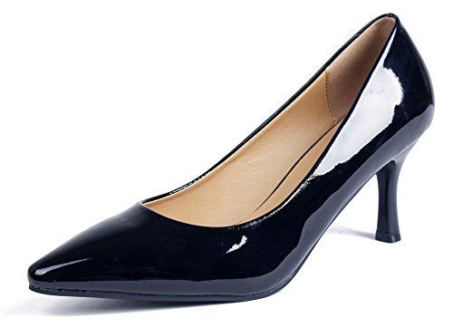 Femme Pointue Noir AgeeMi Chaussure Talon Moyen de Escarpins EuD49 Cour Shoes 4wRHqX5p