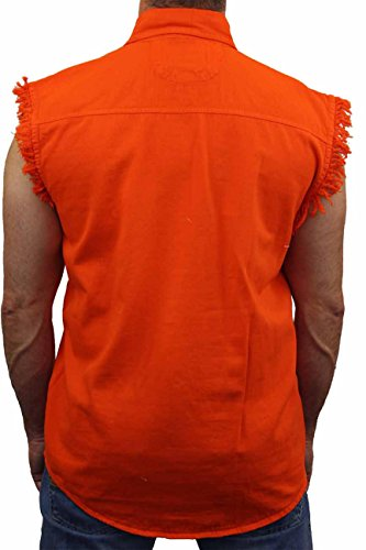 ORANGE Basic Plain Sleeveless Denim Biker Shirt (XL)