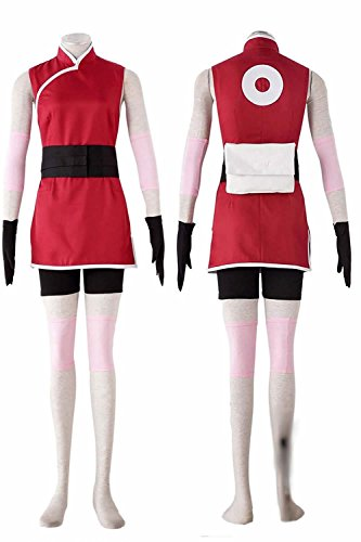 OURCOSPLAY The Last Haruno Sakura Red Cheongsam Cosplay Costume 8Pcs (Women US XXXL)
