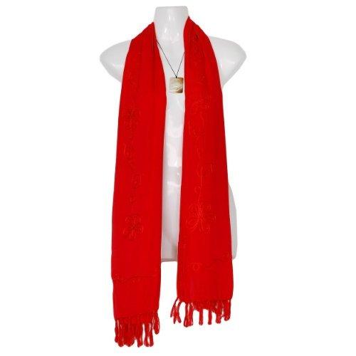 Your Sarongs de un Choice 1 color color mundo Red grande mujeres con bordado Bufanda en extra solo para de tqxvwtOaH