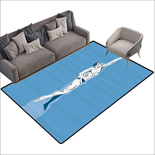 Corridor Rug Colorful Olympics Decorations Collection,Swimming Freestyle Water Sports Olympic Challenging Competitive Game Image,Blue White 60