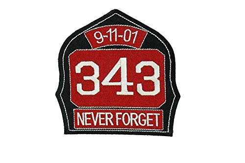 - 911 Commemorative Shield Patch 343 Never Forget Jacket Shirt Hat Cap Embroidered Patch Easy Iron On