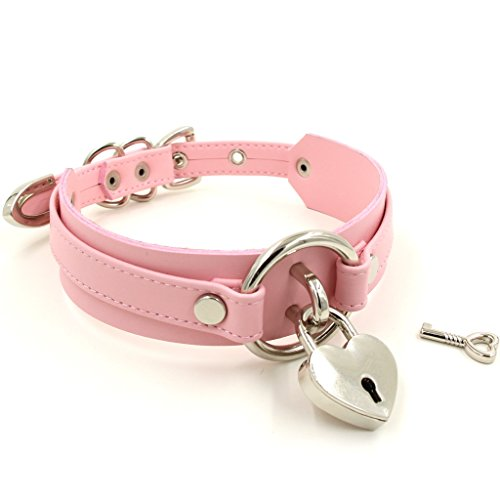 Handmade Heart Lock O Ring Thick Faux Leather Choker Collar Necklace (Pink with silver alloy) by Handmade Studio