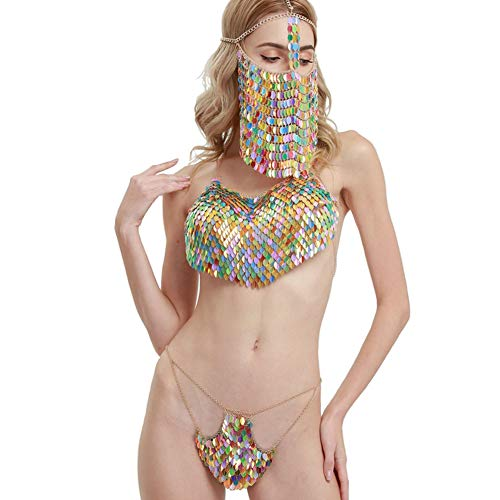 Connie Cloris Sexy Lady's Sexy Belly Pocket Sequins Bikini Metal Body Chain Suit (Multicolor) by Connie Cloris (Image #8)