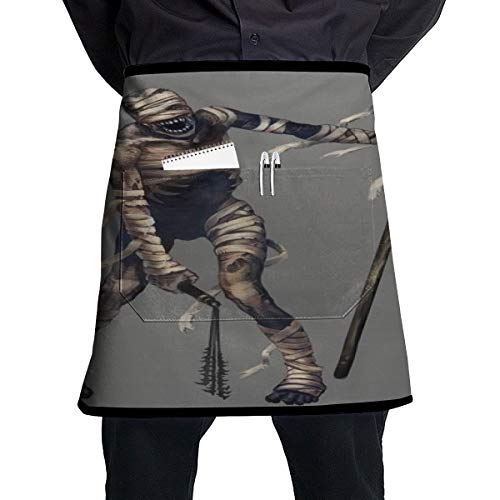 Lao Yang Mai Halloween Skeleton Mummy Zombie BBQ Waiter Housekeeper Pet Grooming Bartender Kitchen Beautician Hairstylist Nail Salon Carpenter Shoeing Wood Painting Artist Pocket Half Apron -