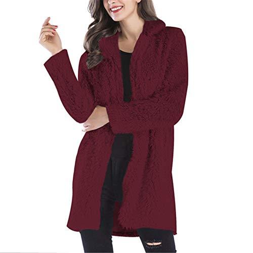Fausse Fourrure Manteau Femme Doux Chaud Manche Longue Manteau de Survtement Parka Veste Vin Rouge