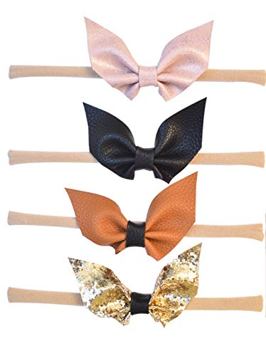 California Tot Kid's Faux Leather Glitter Bat Wing Bow in Soft & Super Stretchy Headbands for Newborn, Baby, Toddler, Girls (Bat Bow Nylon Headbands: Set of 4) ()
