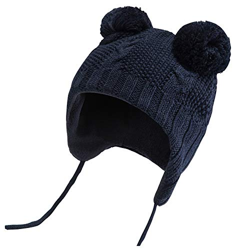 Clearrance!! Baby Hat Cute Bear Toddler Earflap Beanie Infant Boys Girls Hats Warm for Fall Winter Navy Blue