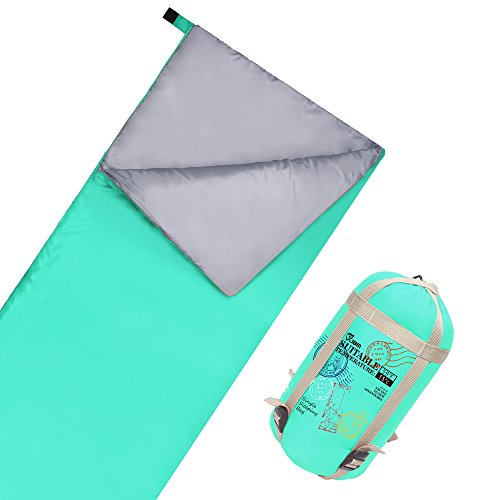 JBM Sleeping Bag with Compact Bag 3 Seasons 15℃/60℉ Multi Color Blue Green Insulated Waterproof and Repellent Envelope Printed Pattern (15℃/60℉ - Green, Single)