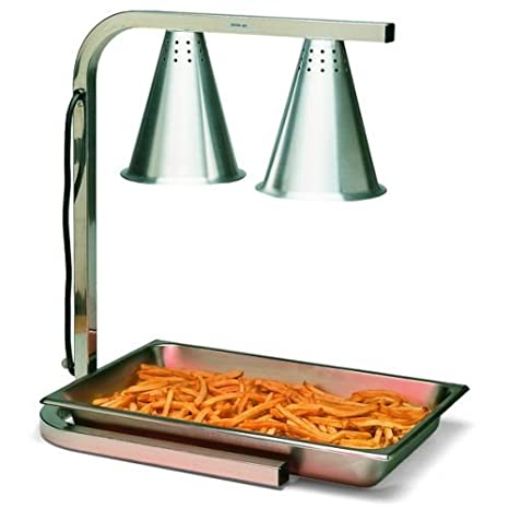 Carlisle HL7237PS00 Aluminum Two Bulb Free Standing Adjustable Heat Lamp with Pan and Screen 20 W x 14 D