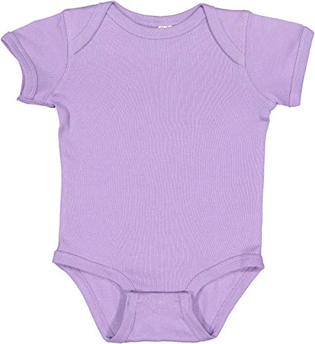 Rabbit Skins Infants'5 oz. Baby Rib Lap Shoulder Bodysuit, Lavendar, 12 ()
