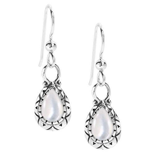 American West Sterling Silver White Mother of Pearl Gemstone Dangle Earrings