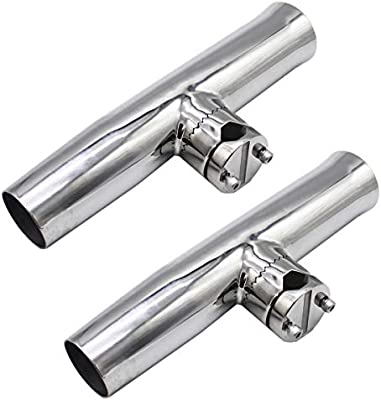 2Pcs Boat Stainless Steel Fishing Rod Holder Clamp-on Rails 7//8/'/' to 1/'/' Rail