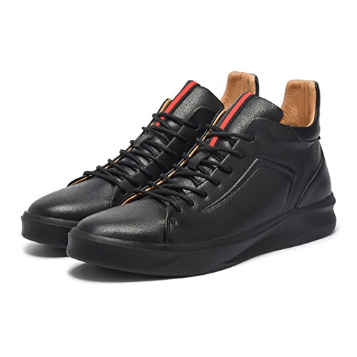 ARTISURE Men's Classic Black Genuine Leather High-Top Casual Sneakers Fashion Ankle Boots 10 M US SKS-1019HEI100 by ARTISURE (Image #7)