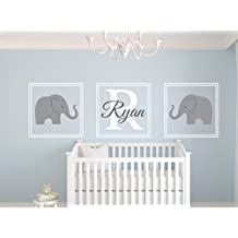 Elephant Name Wall Decal Set Nursery Wall Decor by Lovely Decals World