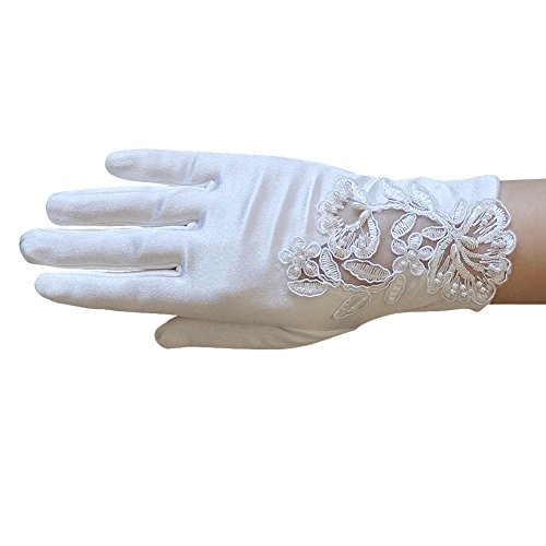 ZaZa Bridal Girl's Satin Gloves with Floral Embroidery Lace & Pearls - Girl's Size Medium ()