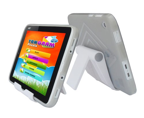iShoppingdeals - Smoke TPU Rubber Skin Cover Case and Multi-Angle View Stand Holder for ACER ICONIA W3-810 Tablet