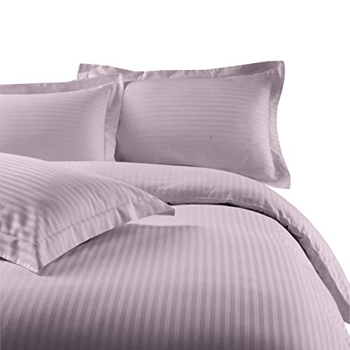 sheetsnthings Damask Stripes Goose Down Comforter with 600TC, 100-Percent Cotton, 8PC Full Size Bedding (Bed Sheets and Duvet Cover Set) Lilac