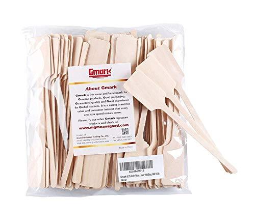 (Gmark Green Product 6.25 Inch Wood Kayak Paddle Shape Sticks, Wood Stirrer for Honey, 100/Bag GM1035)