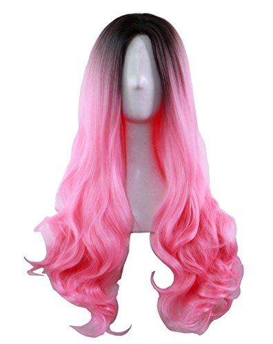 AneShe Ombre Wig Long Wavy 2 Tone Black and Pink Ombre Wig Dark Roots Heat Resistant Fiber Full Wigs for Women (Black to (Black And Pink Wig)