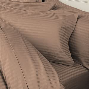 Egyptian Bedding 1200 Thread Count California King 4pc Bed Sheet Set 100% Egyptian Cotton Deep Pocket 1200 TC Stripe Taupe (1200 Tc Sheet Set)