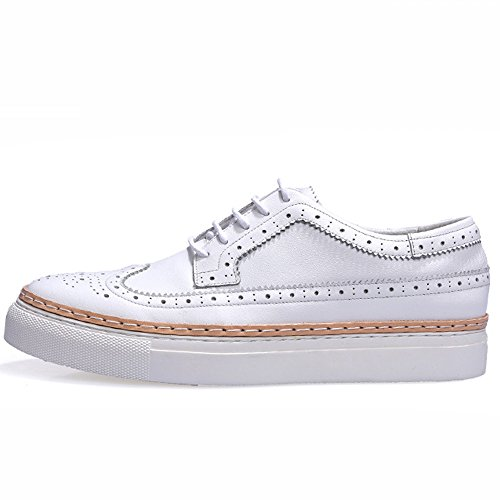 GOLDGOD Brock Chaussures Hommes Casual Chaussures Plate-Forme Chaussures Hommes Chaussures Marée Chaussures,White,42