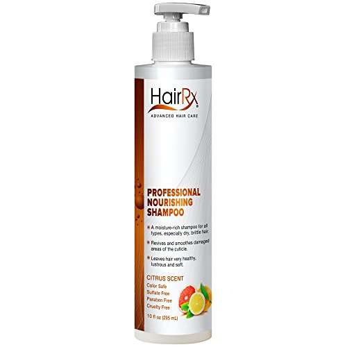 HairRx Professional Nourishing Shampoo with Pump, Luxurious Lather, Citrus Scent, 10 Ounce