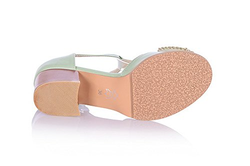 Green Heel M and B Sandals US with Solid Toe Peep Material 5 Buckle PU WeenFashion Bowknot Womens Kitten Soft Open wqXTOZUg