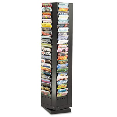 Safco 4325BL Steel Rotary Magazine Rack 92 Compartments 14w x 14d x 68h Black by Safco (Image #1)