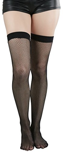 ToBeInStyle Women's Bright Exotic Long Fishnet Thigh High Socks Hosiery - Black - One Size: Regular (Thigh High Fishnets)